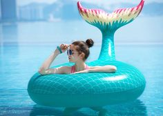 Jasonwell Giant Inflatable Mermaid Tail Pool Float Pool Tube with Fast Valves Summer Beach Swimming Pool Party Lounge Raft Decorations Toys for Adults Kids (Green) Crazy Pool, Structures Gonflables, Cool Pool Floats, Mermaid Tails For Kids, Summer Pool, Summer Beach, Pool Fun, Lounge Party, Giant Inflatable