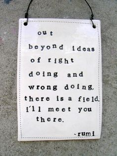 """out beyond ideas of right doing and wrong doing there is a field. i'll meet you there."""