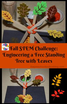 Fall STEM Challenge_Engineering a Free Standing Tree with Leaves Thanksgiving Activities, Autumn Activities, Thanksgiving Crafts, Preschool Activities, Kindergarten Thanksgiving, Dinosaur Activities, Preschool Education, Early Education, Educational Activities