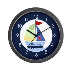 Navy Sailboat Nautical Wall Clock - Add A Name by Jess - CafePress Name Design, Bmw Logo, Sailboat, Nautical, Clock, Names, Bedroom, Wall, Sailing Boat