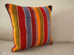Striped Pillow 16x16 - Kilim Pillow Cover - Anatolian Pillow Case - Cushion Cover - Ethnic Design - Decorative Pillow  -00118