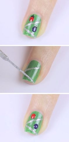 Tree Ornaments | Click Pic for 20 Easy Christmas Nails Art Designs Winter | Easy Nails Designs for Short Nails