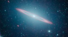 """""""Sombrero galaxy -- named after its appearance in visible light to a wide-brimmed hat -- is in fact two galaxies in one"""""""