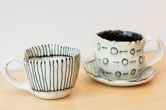 Mugs & plate handmade by Hamtramck artist, Rachel Gervais. ($20-$42)