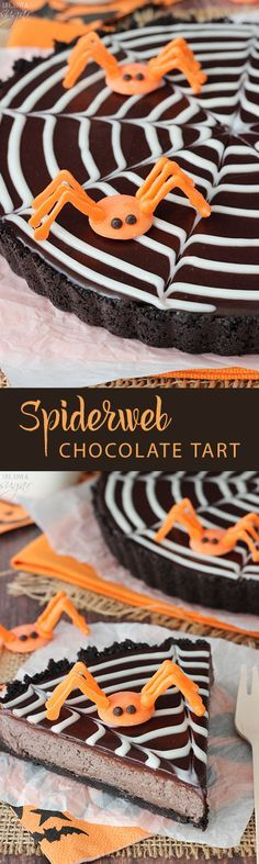 This Spiderweb Chocolate Tart is such a fun dessert for Halloween and is delightfully chocolatey! And to make it even better, it's no bake and super easy to make. - from lifeloveandsugar.com