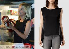 Pretty Little Liars: Season 5 Episode 13 Hanna's Zipper-Sleeve Sleeveless Top