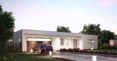 Massivhaus Kern-Haus Bungalow Purea Eingangsseite am Abend