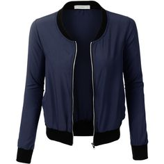 LE3NO Womens Ultra Lightweight Short Bomber Jacket ($22) ❤ liked on Polyvore featuring outerwear, jackets, pocket jacket, blue jackets, light weight jacket, bomber style jacket and bomber jacket