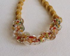 Jasper and Jade Necklace in Yellows with Glass by Smokeylady54