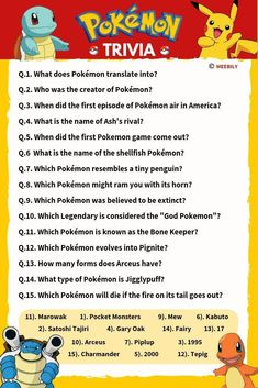 The ultimate Pokemon trivia questions & answers quiz game that shall test if you can really be termed as the biggest Pokemon fan & trainer. Score higher on the Pokemon trivia quiz and compare it with your friends and family. Disney Quiz Questions, Trivia Questions For Kids, Quiz Questions And Answers, Question And Answer, Pokemon Quiz, Pokemon Facts, Pokemon Trivia, Deep Conversation Topics, Conversation Cards