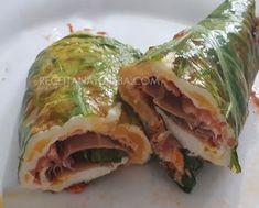 Wrap de Couve Low Carb Low Carb Paleo, Tortas Low Carb, Kefir, Fresh Rolls, Coco, Sushi, Ethnic Recipes, Gin, Zucchini Lasagna