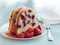 Blueberry Buttermilk Bundt Cake : Serve up this blueberry-studded bundt cake with a side of macerated strawberries.
