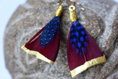 Earrings feather and golden metal CANYON 3 by lapanthere on Etsy Feather, Drop Earrings, Metal, Jewelry, Quill, Jewlery, Jewels, Feathers, Jewerly