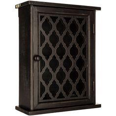 Black Quatrefoil Wood Wall Cabinet