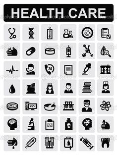 Medical icons white on black vector