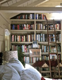 Love the wall of bookshelves.  Great idea for our guest bedroom.