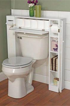 Banheiros pequenos. Aproveitando espaço acima e no entorno de vaso sanitário com caixa acoplada ativador frontal. No caso do ativador superior só fazer mais alto o armarinho