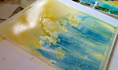Adding Blue to Watercolor Painting