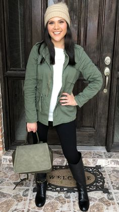 88be039a5a9c8 Fall / winter / outfit / ideas / green utility jacket / olive / army /  leggings / riding boots / chic / black / Tory Burch / back pack / purse /  beanie ...