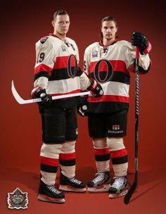 Jason Spezza and Eric Karlson of the Ottawa Senators NHL Hockey Team Nhl Hockey Teams, Hot Hockey Players, Stars Hockey, Ice Hockey, Ottawa, Ontario, Sports Uniforms, Vancouver Canucks, American Sports