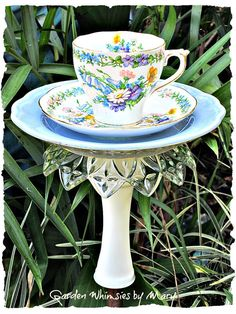 Blue Floral Teacup Bird Feeder Garden Totem Stake - As Featured in Flea Market Gardens Magazine