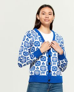 Shop at Century 21 for shoes, clothing, jewelry, dresses, coats and more from top brands with trendy styles. Hanukkah 2019, Female Models, Trendy Fashion, Christmas Sweaters, Buttons, Stitch, Knitting, Lady, Coat