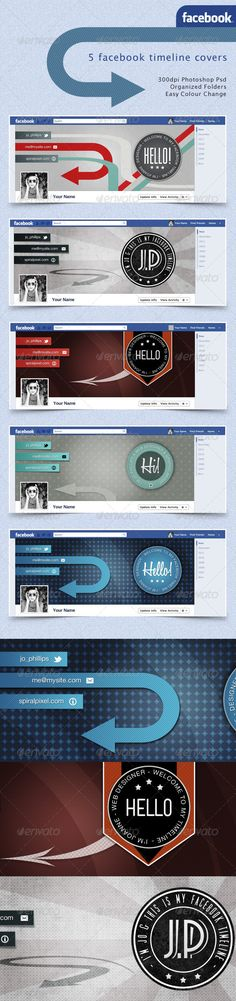 Facebook Timeline Covers - Retro Badges - GraphicRiver Item for Sale