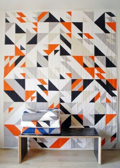 Great color scheme and fun pattern. One of my favorites. I like lots of neutrals with just a pop of color.