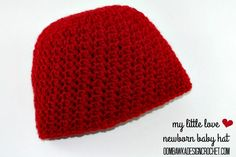 My Little Love Newborn Baby Hat, free crochet pattern by Oombawka Design