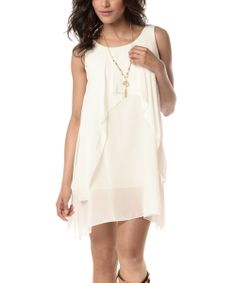 White Tiered Hi-Low Dress & Pendant Necklace