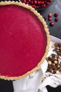 If you are a fan of lemon curd or the classic French tarte au citron, you will love this cranberry version. To minimize kitchen time, make it in stages, preparing the crust and curd a day or two in advance. The finished tart keeps well for a couple of day