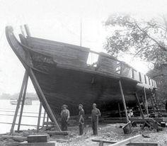US Brig Niagara being rebuilt for the Perry Centennial (1913)