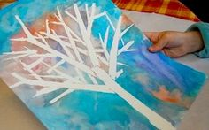 Mixed Media Art Project: Masking Tape and Watercolor Winter Scene on http://www.canadianfamily.ca/2011/01/mixed-media-art-project-masking-tape-and-watercolor-winter-scene/