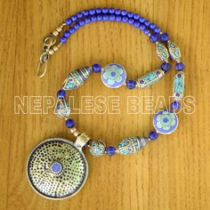 N2009 Nepalese Design Lapis Turquoise Necklace 20'' Tibet Nepal  #Eksha #Necklace