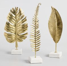 gold decor Gold Leaf on Marble Stand Decor Set of 3 by World Market Cute Dorm Rooms, Cool Rooms, Home Office Accessories, Decorative Leaves, Decorative Accents, Decorative Objects, Diy Home Decor, Room Decor, Gold Home Decor