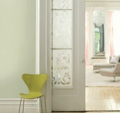 Benjamin Moore has released its 2015 Color of the Year: Guilford Green The silvery green complements both modern and traditional styles in a . 2015 Color Trends, Etched Glass Door, Glass Doors, Chartreuse Color, Benjamin Moore Colors, Wall Colors, Paint Colors, Room Colors, House Colors