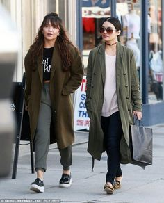 Out and about: Vanessa Hudgens, right, and her younger sister Stella were spotting on a shopping trip in the Studio City neighbourhood of Los Angeles on Tuesday