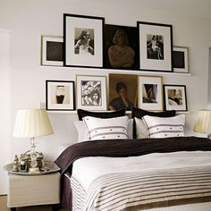 I like the floating shelf ledge idea for photos.  IKEA has the shelves. I think I'd do this above my dresser, not above the bed since I live in earthquake country!