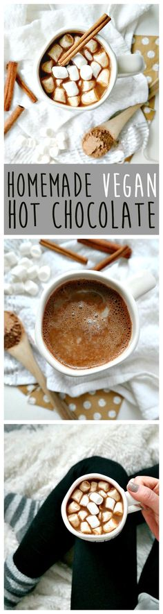 Get toasty with THE BEST 'Homemade Vegan Hot Chocolate'. Luscious, comforting, and so easy to make. Using a cacao spice blend, you'll never want store-bought hot cocoa again after drinking this healthier (way more delicious) alternative! From The Glowing Fridge. #vegan #dairyfree #hotchocolate
