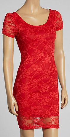 Red Lace-Overlay Dress. (If only I could wear red)