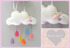 cloud mobile, nursery decor, babyroom