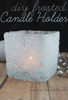 DIY Frosted Candle Holder - Perfect simple decorations for #Winter or #Christmas #Decor
