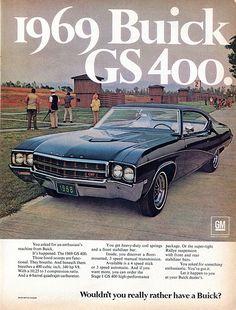 1969 Buick GS400 Advertising Hot Rod Magazine October 1968.