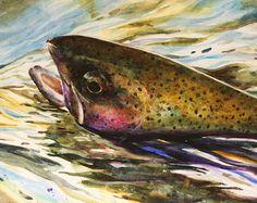 Forelle-Aquarell-Print von Dean Crouser von DeanCrouserArt auf Etsy