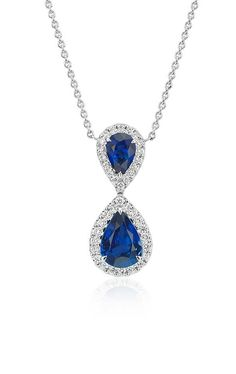 A stunning 'Something Blue'! The Pear-Shaped Sapphire and Diamond Classic Drop Pendant in 18k white gold.