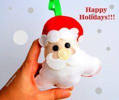 Christmas ornament Felt Santa Head Christmas by Mariapalito