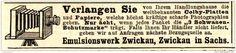 Original-Werbung/ Anzeige 1897 - COLBY PHOTO - PLATTEN UND PAPIERE / EMULSIONSWERK ZWICKAU - ca. 90 x 20 mm