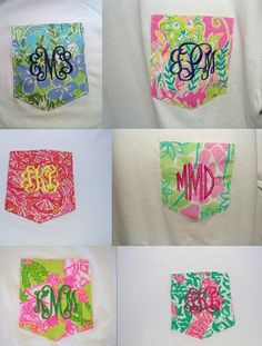 Long Sleeve Monogrammed Pocket Tee with by TheSouthernMonogram, $40.00 Slaterock House Print! OMG I LOVE IT