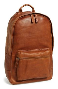 Fossil 'Ledge' Leather Backpack - Metallic in Brown for Men (cognac) Backpack Outfit, Backpack Bags, Duffle Bags, Messenger Bags, Travel Backpack, Men's Backpacks, Leather Backpacks, Sacs Design, Leather Men