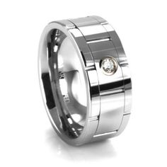 Men's wedding band with a diamond accent.